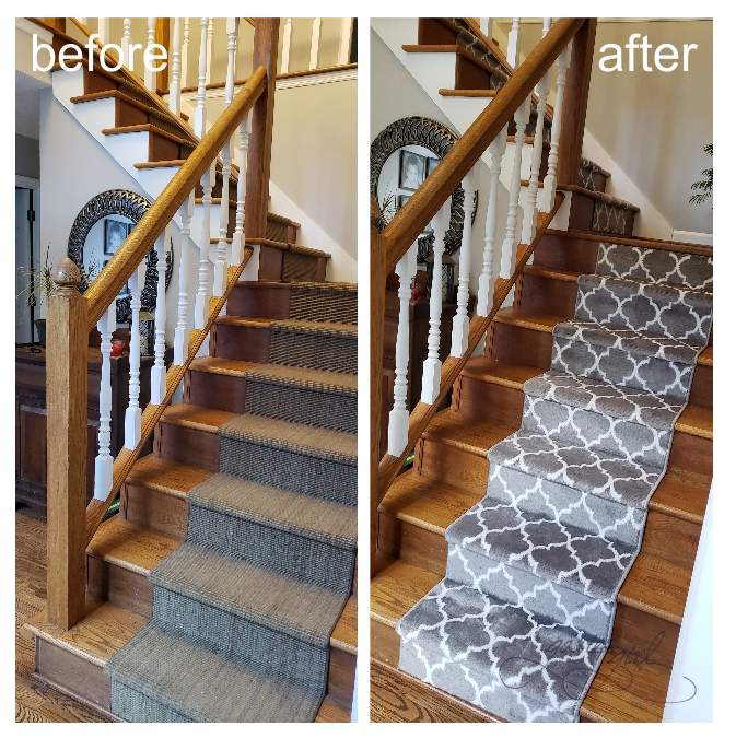 Stair Runner Before and After